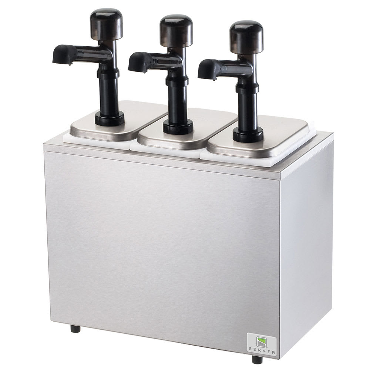 Server 79810 Pump Style Condiment Dispenser w/ (3) 1-oz/Stroke, Stainless