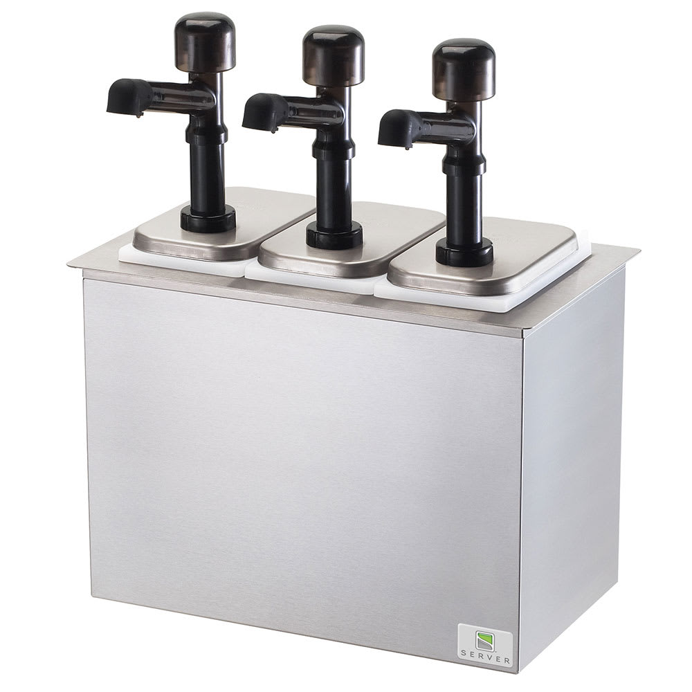 Server 79820 Pump Style Condiment Dispenser w/ (3) 1 oz/Stroke, Stainless