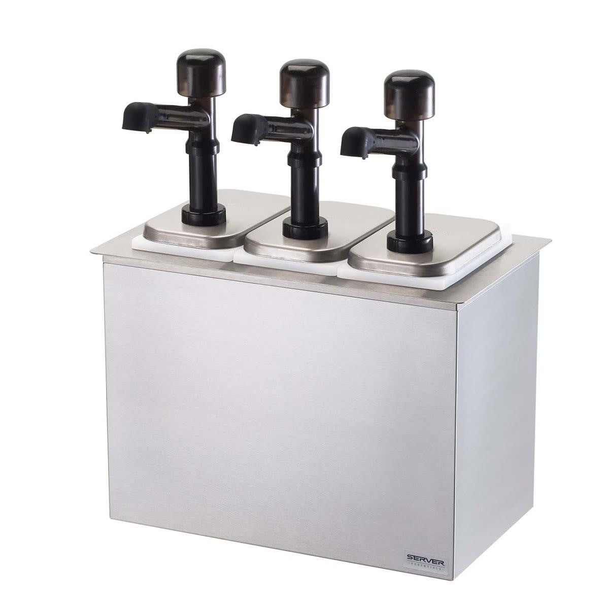 Server 79820 Pump Style Condiment Dispenser w/ (3) 1-oz/Stroke, Stainless