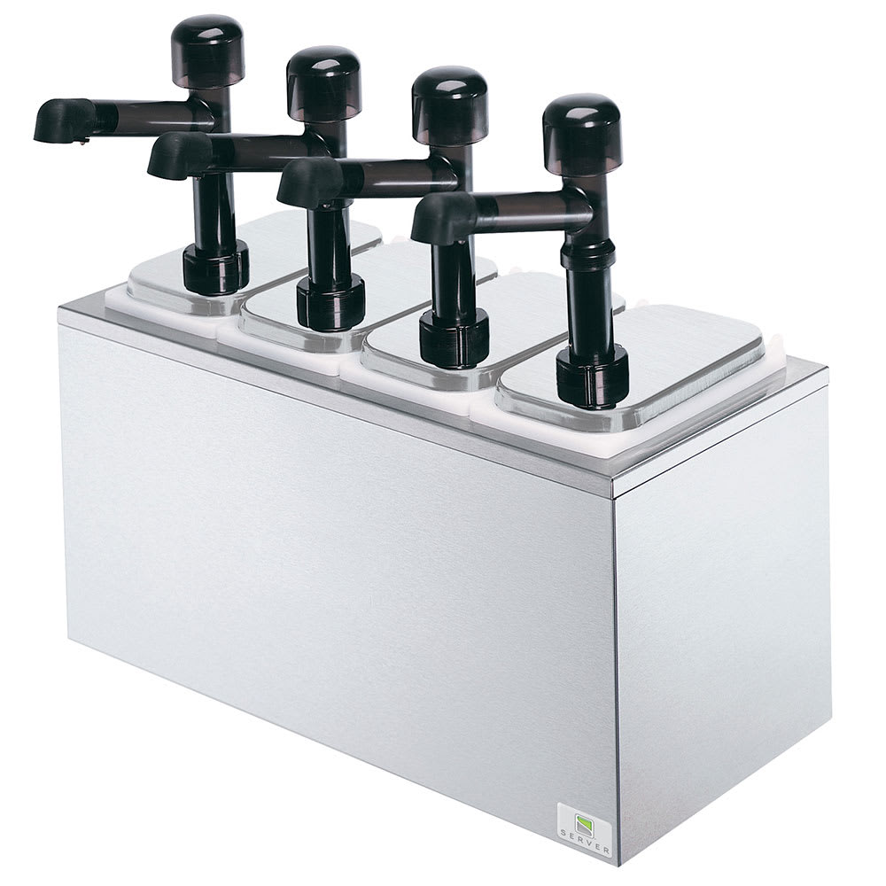 Server 79830 Pump Style Condiment Dispenser w/ (4) 1 oz/Stroke, Stainless