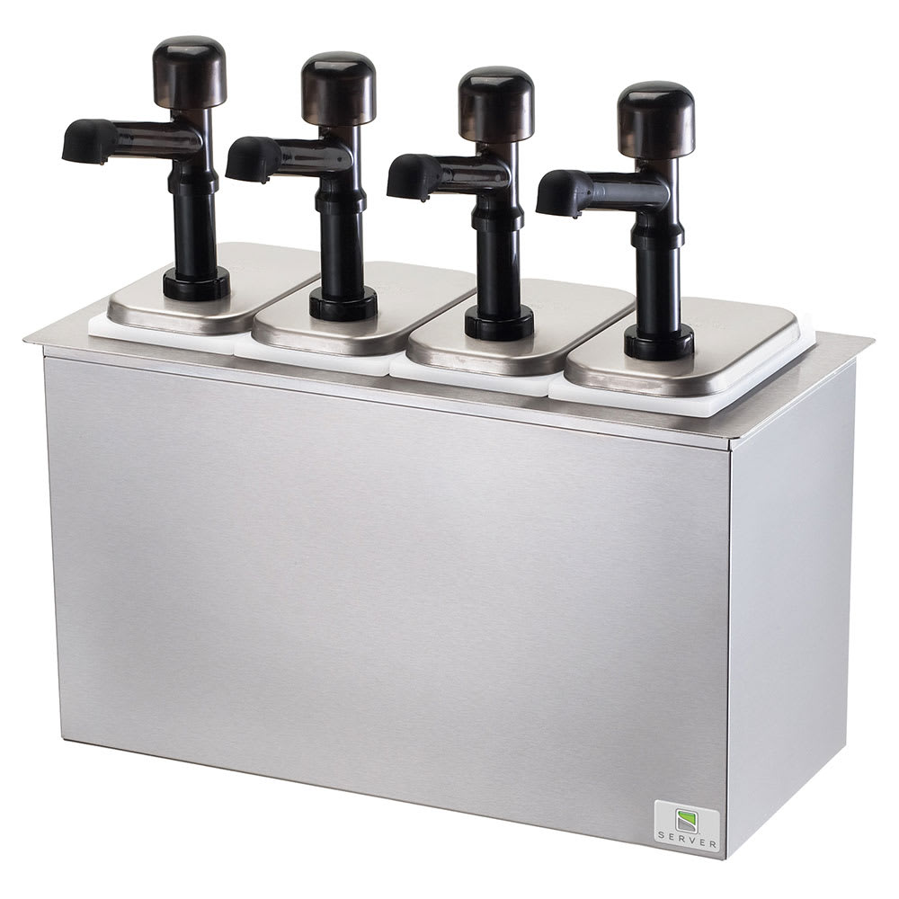 Server 79840 Pump Style Condiment Dispenser w/ (4) 1 oz/Stroke, Stainless