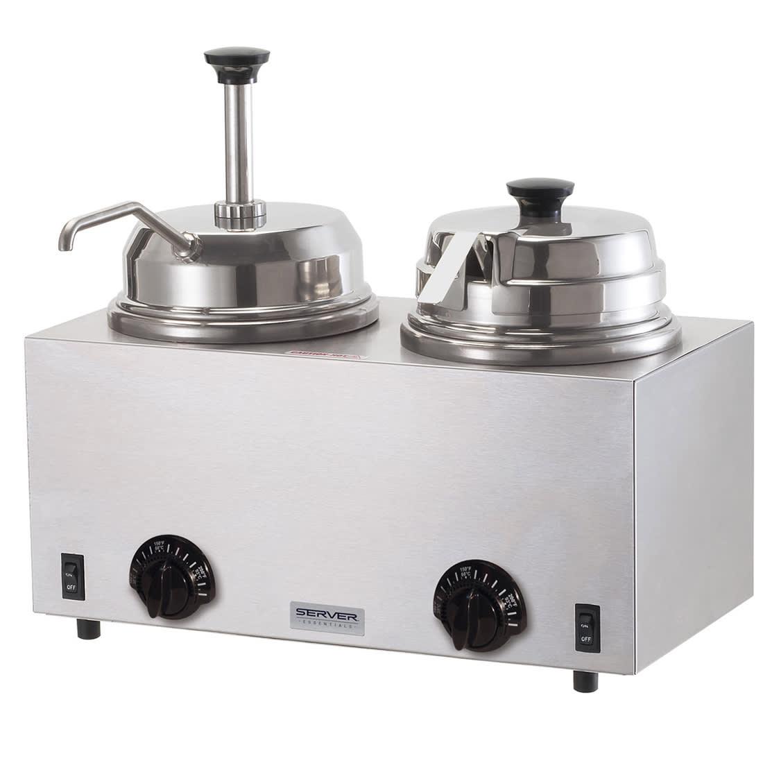 Server 81290 Twin Fudge Server, Pump & Ladle, SS, Use #10 Can or 3 qt Jar, 120 V