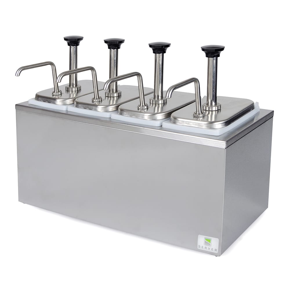 Server 82830 Pump Style Condiment Dispenser w/ (4) 1.25 oz/Stroke, Stainless