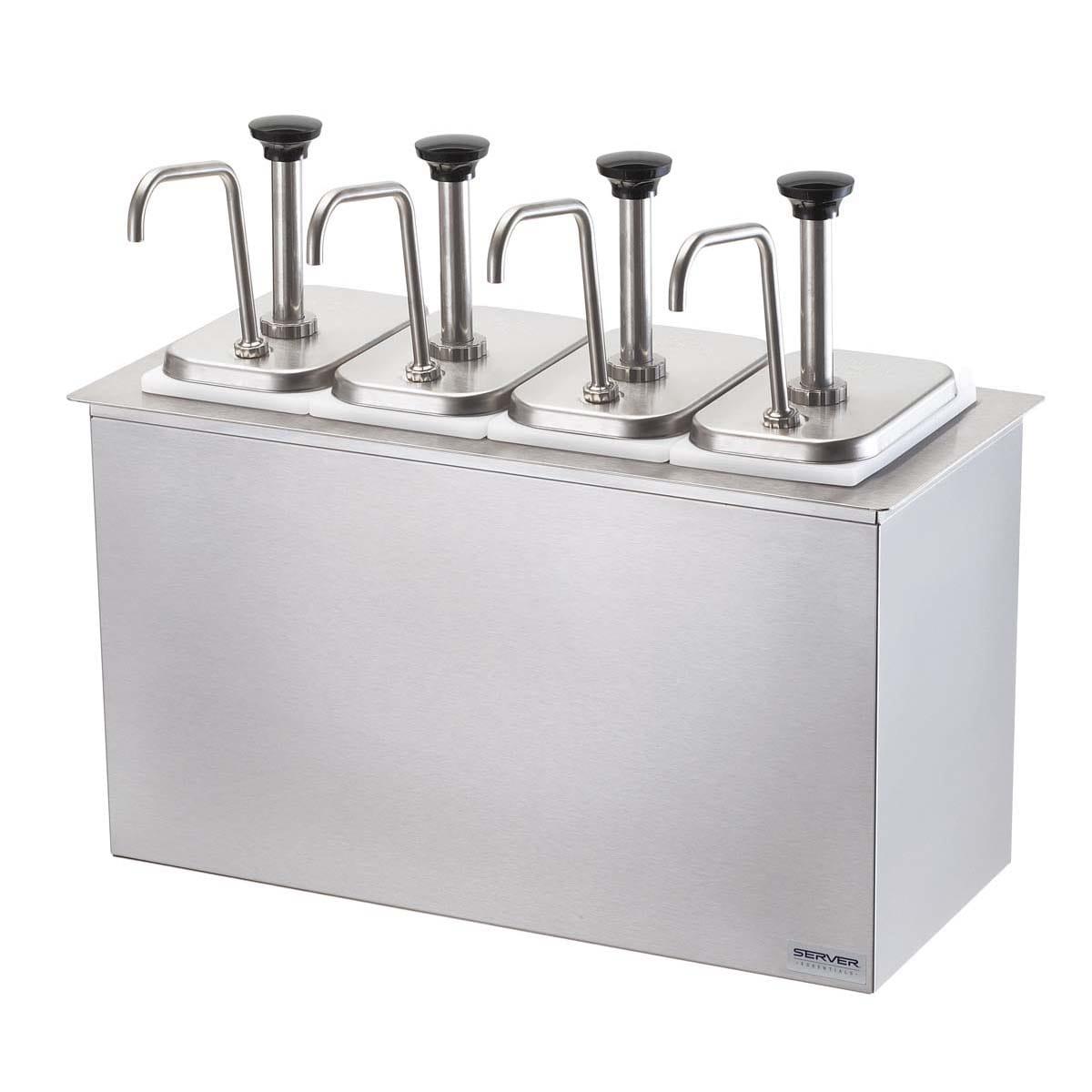 Server 83720 Pump Style Condiment Dispenser w/ (4) 1.25 oz/Stroke, Stainless
