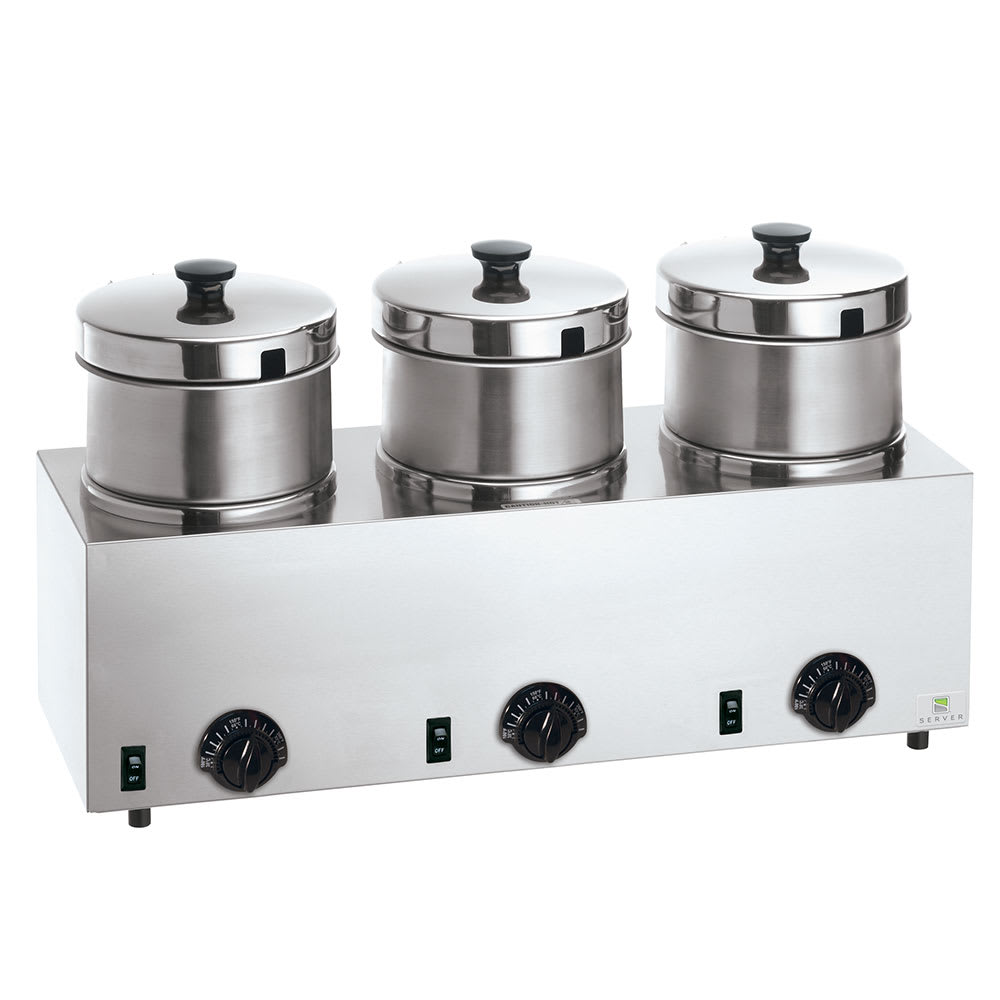 Server 85900 (3) 5-qt Countertop Soup Warmer w/ Thermostatic Controls, 120v
