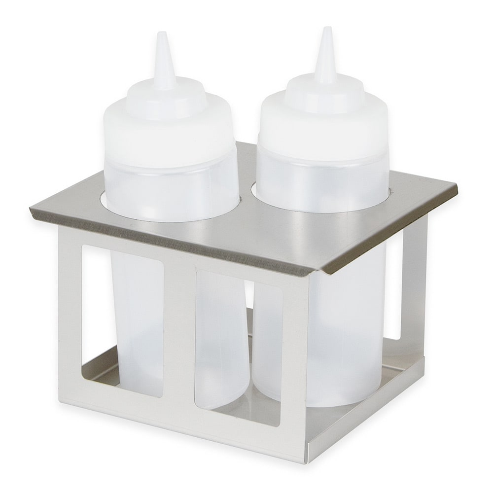 Server 86829 Squeeze Bottle Holder, Twin Unit w/ (2) 16 oz Bottles, SS