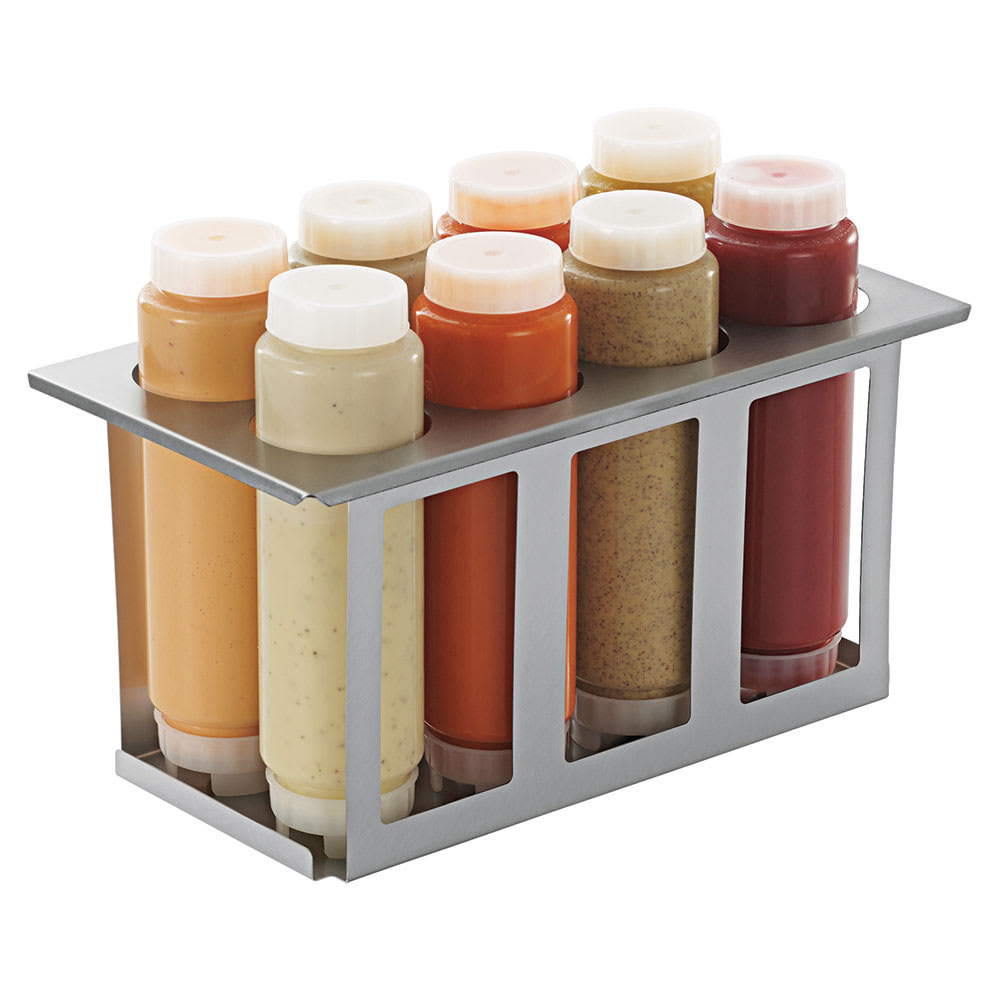 Server 86996 Squeeze Bottle Holder Set w/ 8 Bottles, Lids, Open Frame, Stainless