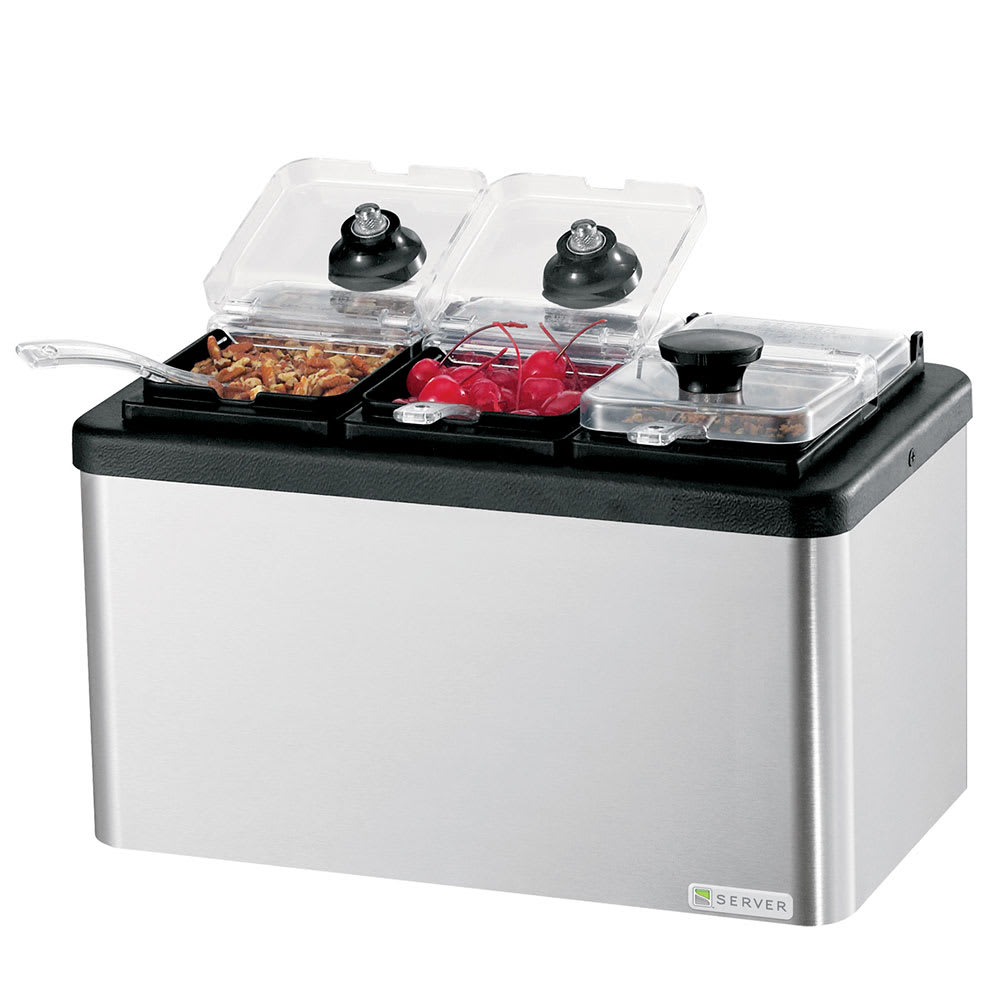 Server 87290 Insulated Mini Bar, (3) 1/9 Size Jars, Lids & Ladles, Stainless