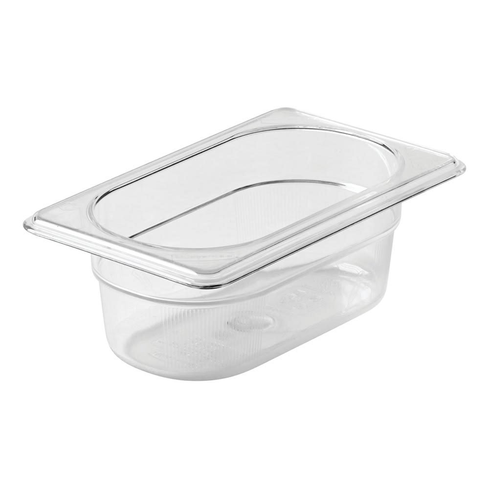 "Rubbermaid FG100P00CLR Cold Food Pan - 1/9 Size, 2 1/2"" Deep"