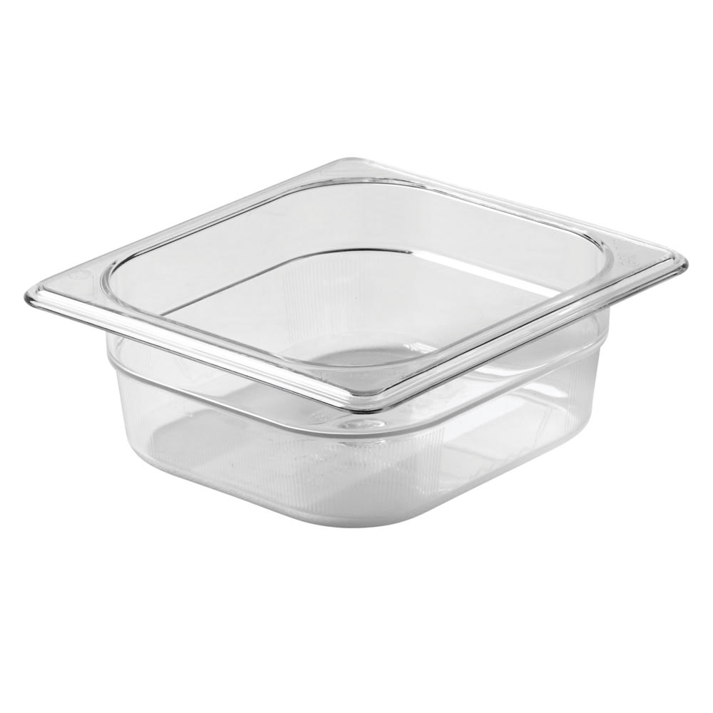 "Rubbermaid FG104P00CLR Cold Food Pan - 1/6 Size, 2-1/2"" Deep"