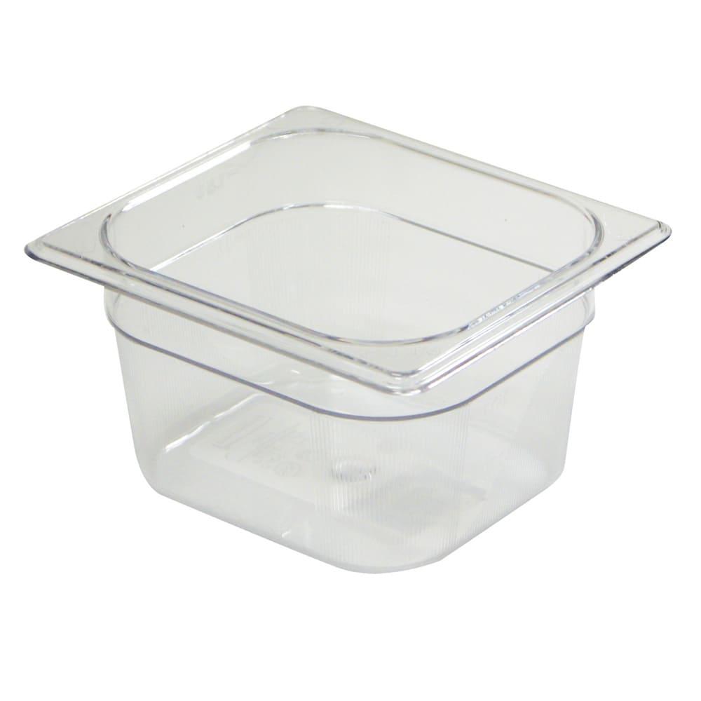"Rubbermaid FG105P00CLR Cold Food Pan - 1/6 Size, 4"" Deep"