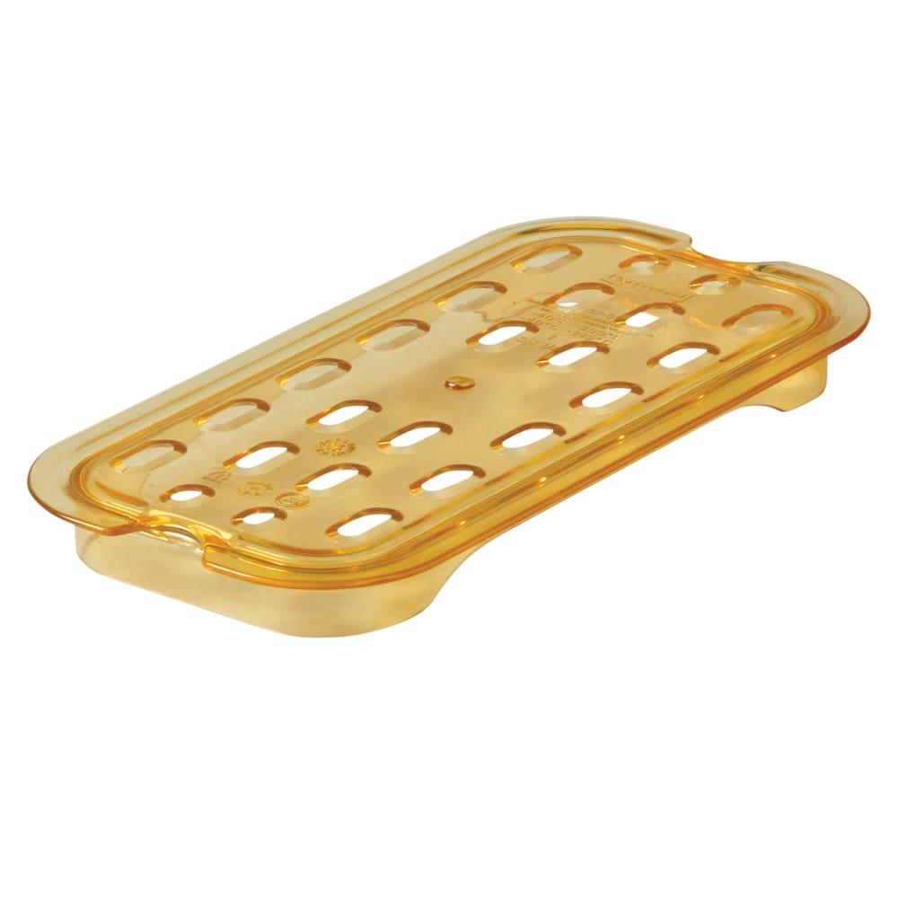 Rubbermaid FG113P00AMBR Hot Food Pan Drain Tray - 1/4 Size, Amber