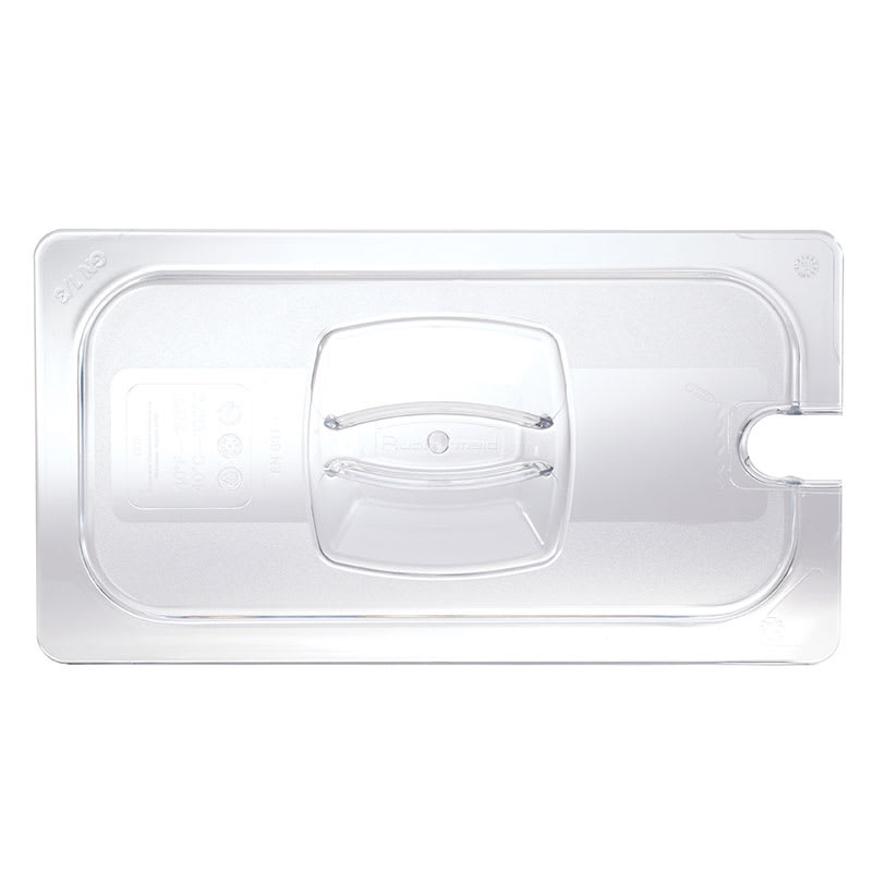 Rubbermaid FG121P86CLR Cold Food Pan Cover - Notched, 1/3 Size, Clear Poly