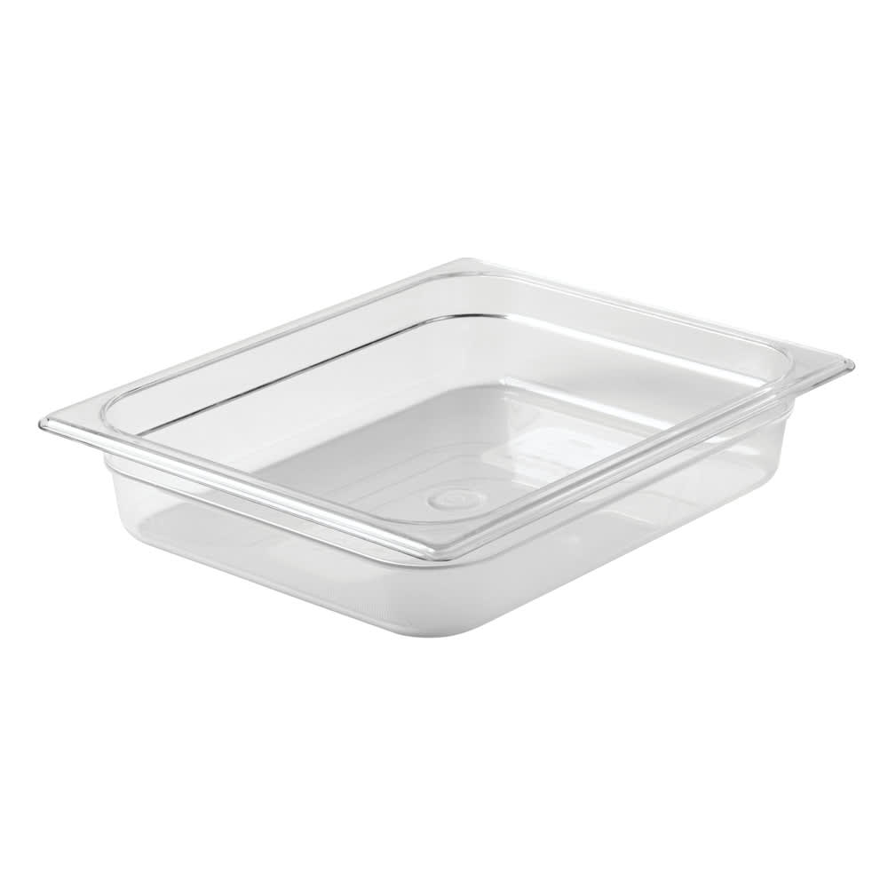 "Rubbermaid FG123P00CLR Cold Food Pan - Half Size, 2 1/2"" Deep, Clear Poly"
