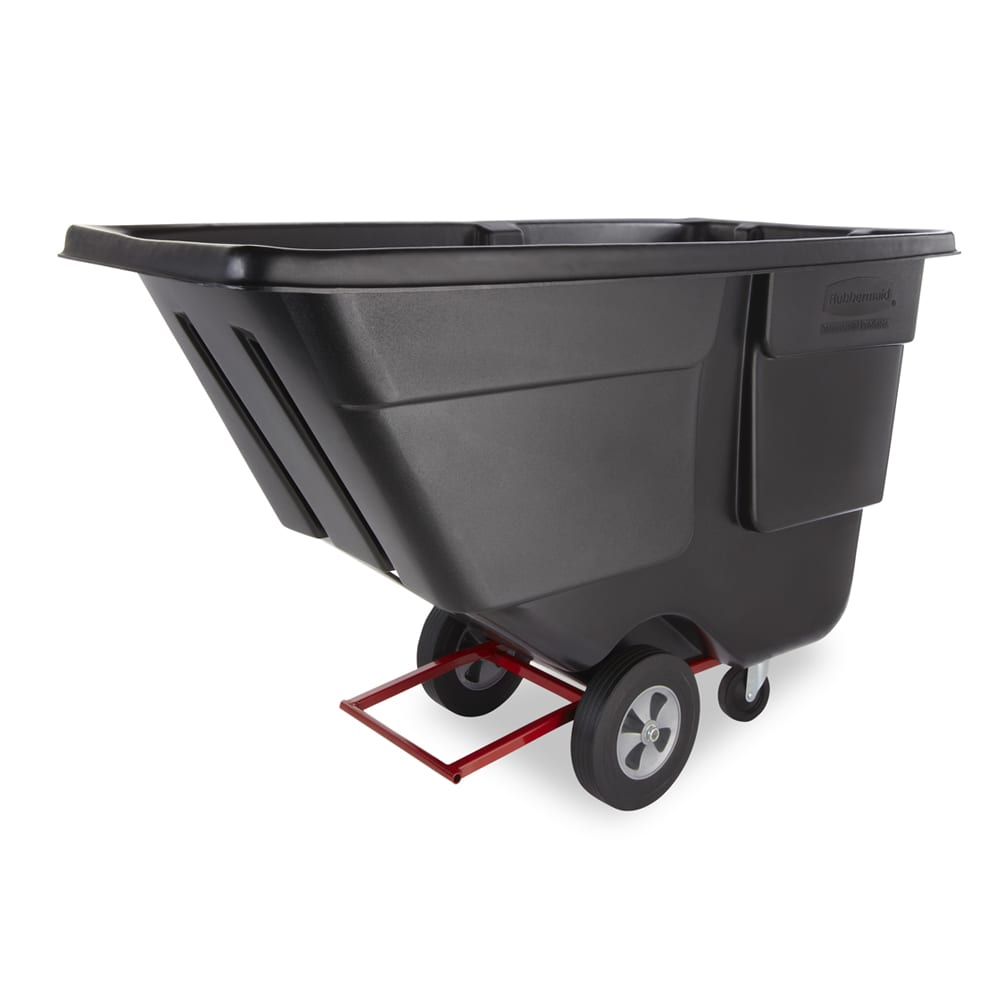 Rubbermaid FG131400BLA 1-cu yd Trash Cart w/ 850-lb Capacity, Black