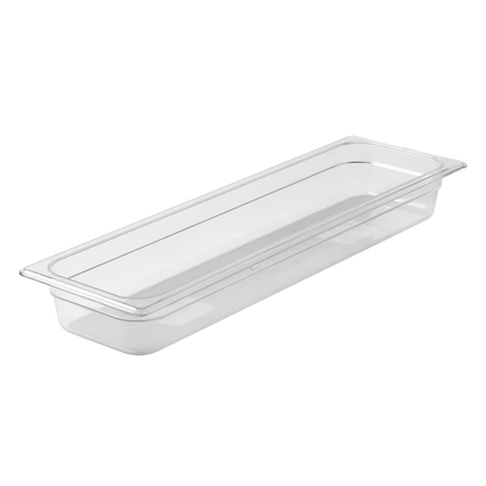 """Rubbermaid FG139P00CLR Cold Food Pan - Half Size Long, 2-1/2"""" Deep, Clear Poly"""