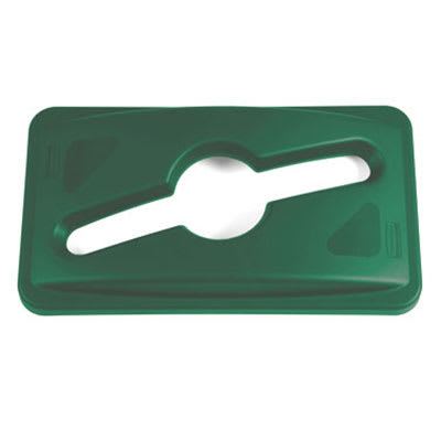 Rubbermaid 1788373 Rectangle Recycling Trash Can Lid - Plastic, Green