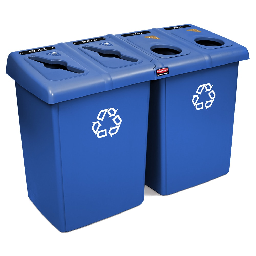 Rubbermaid 1792372 92 gal Multiple Material Recycle Bin - Indoor, Multiple Sections