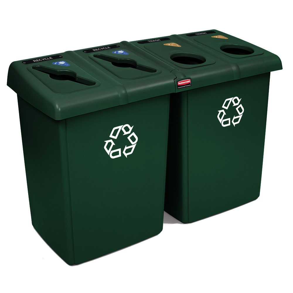 Rubbermaid 1792373 92 gal Multiple Material Recycle Bin - Indoor, Multiple Sections
