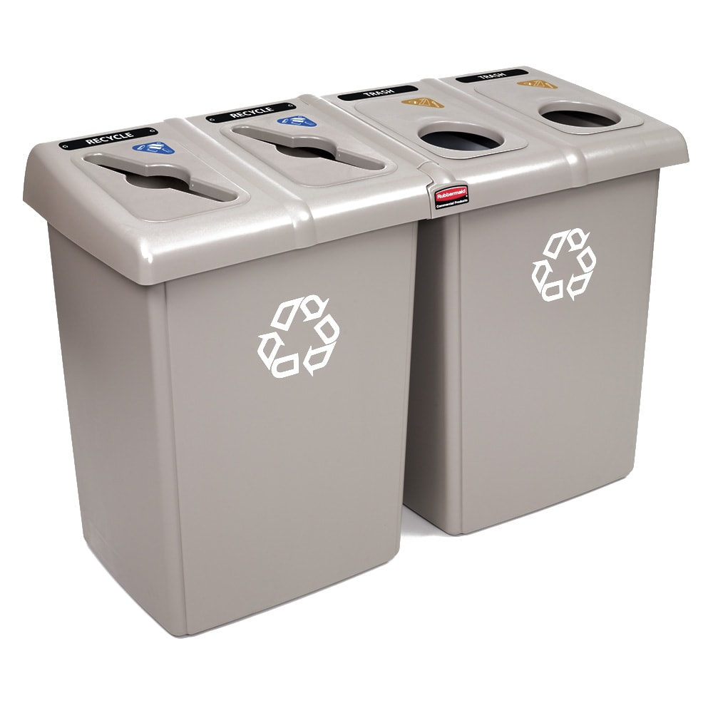 Rubbermaid 1792374 56 gal Multiple Material Recycle Bin - Indoor, Multiple Sections