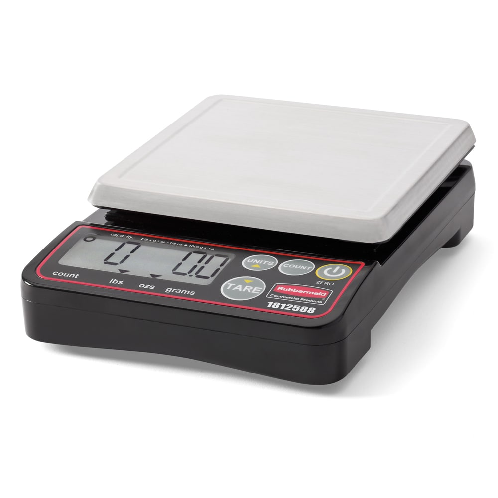 "Rubbermaid 1812588 2 lb Digital Portion Control Scale - 5.1"" x 5.1"", Stainless"