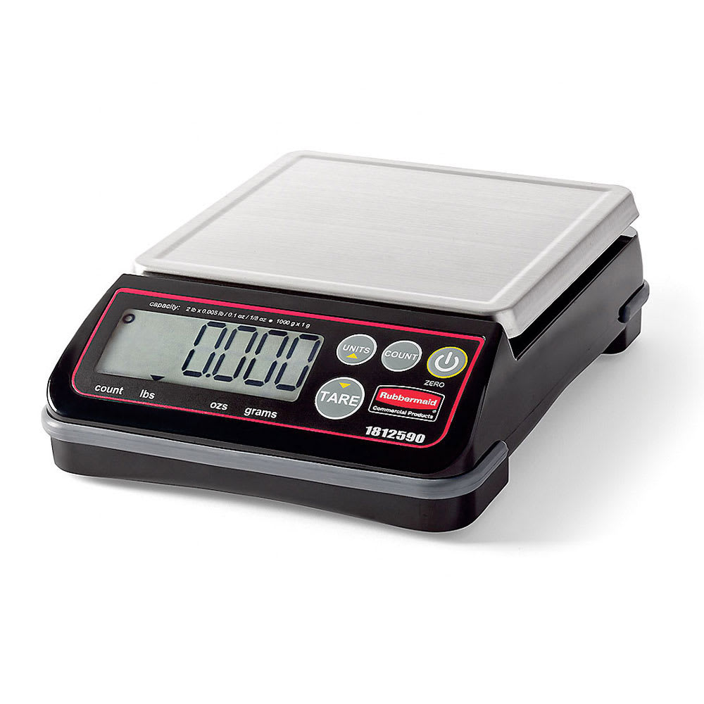 Rubbermaid 1812590 Digital Portion Control Scale - 2-lb Capacity, Stainless