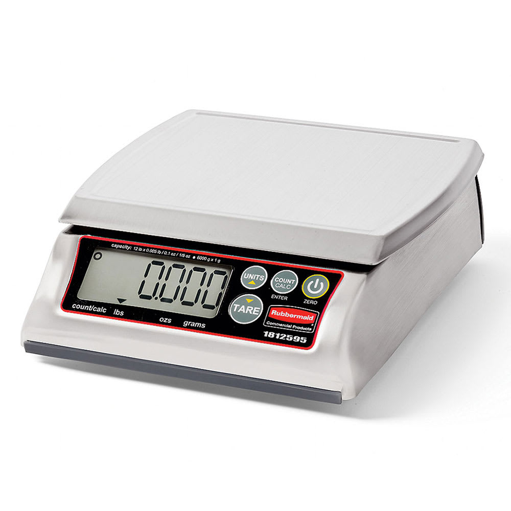 Rubbermaid 1812595 Digital Portion Control Scale - 12 lb Capacity, Dishwasher-Safe, Stainless