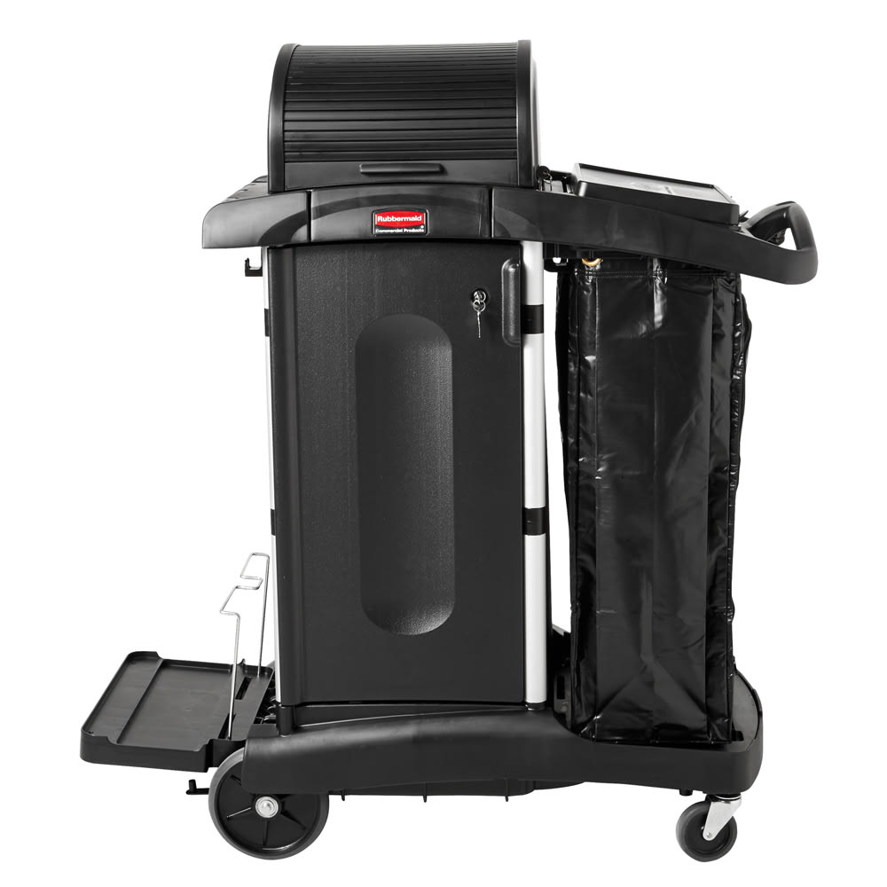 Rubbermaid 1861427 Compact Janitor Cart w/ Dome Top, Black