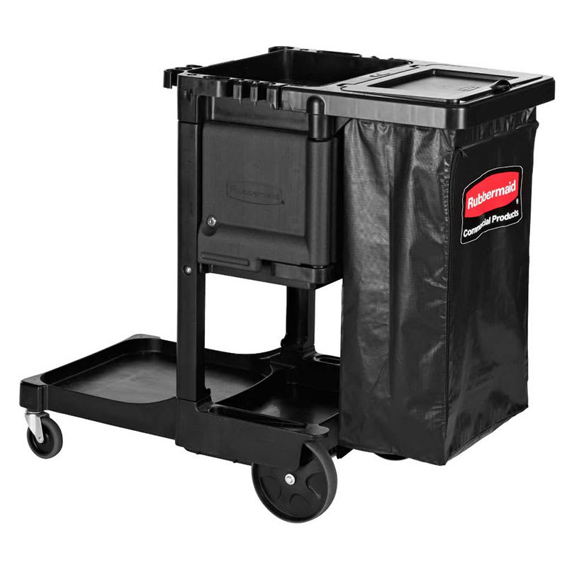 Rubbermaid 1861430 Janitor Cart w/ Locking Cabinet, Black