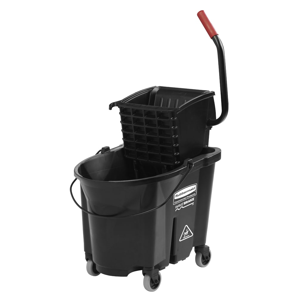Rubbermaid 1863896 35 Qt Side Press Dirty Water Bucket Combo - Black