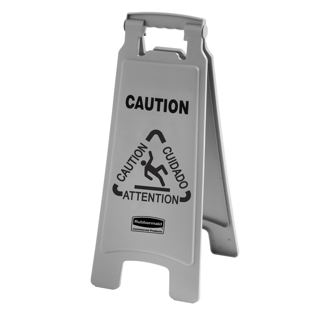Rubbermaid 1867506 Executive Multi-Lingual Caution Sign - 2-Sided Gray