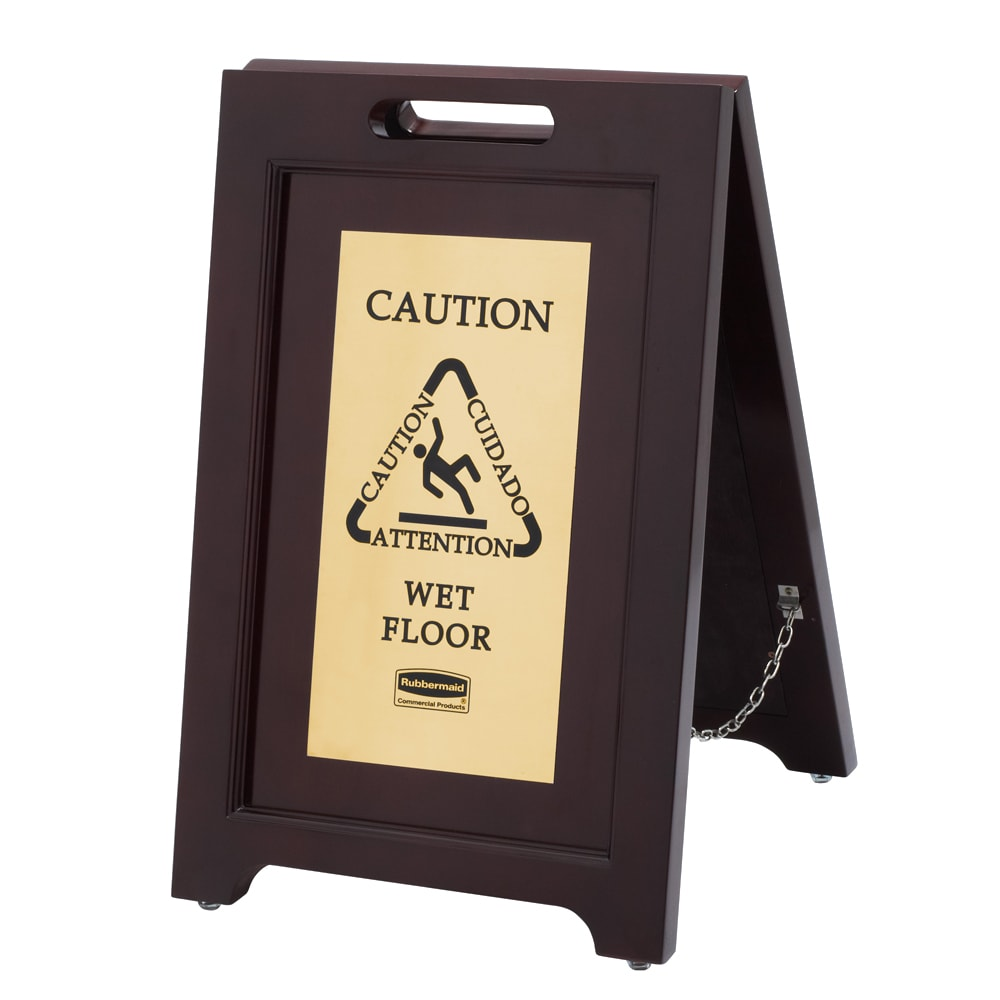 Rubbermaid 1867507 Executive Multi-Lingual Caution Sign - 2 Sided Wood/Gold