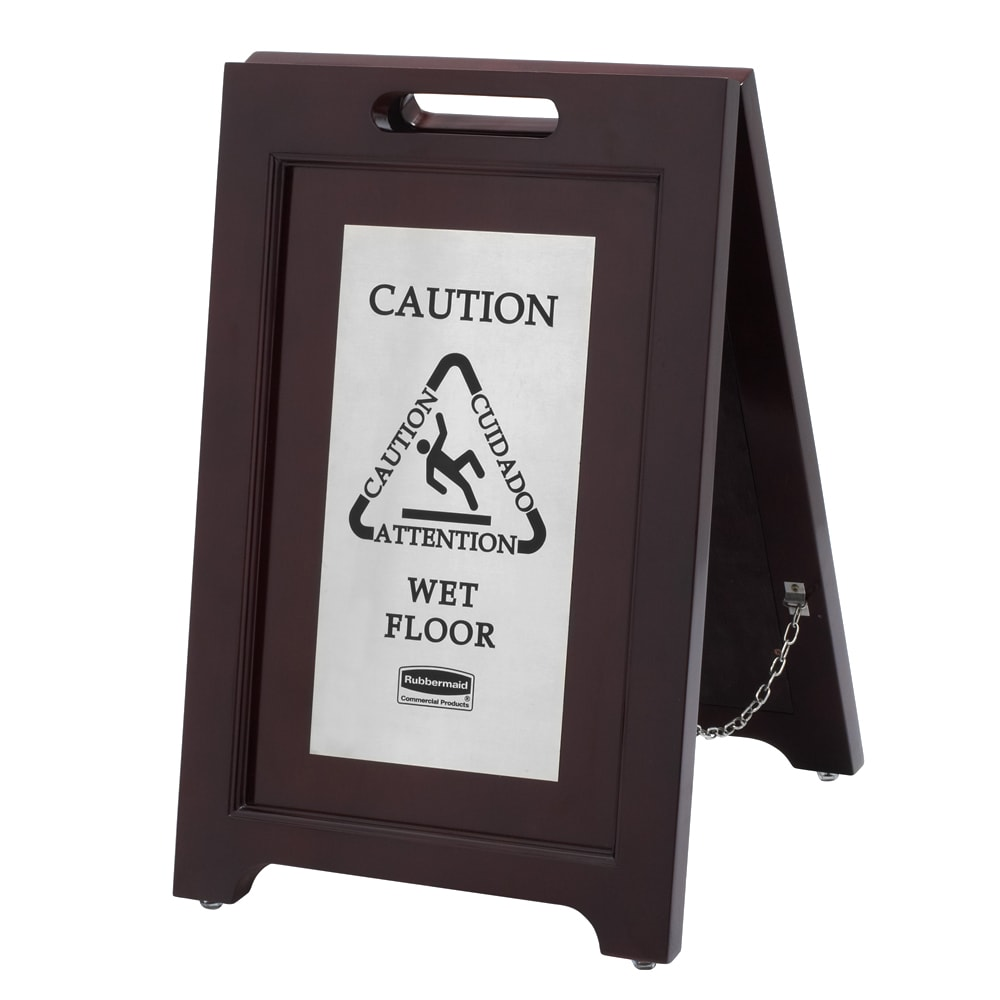 Rubbermaid 1867508 Executive Multi-Lingual Caution Sign - 2 Sided Wood/Silver