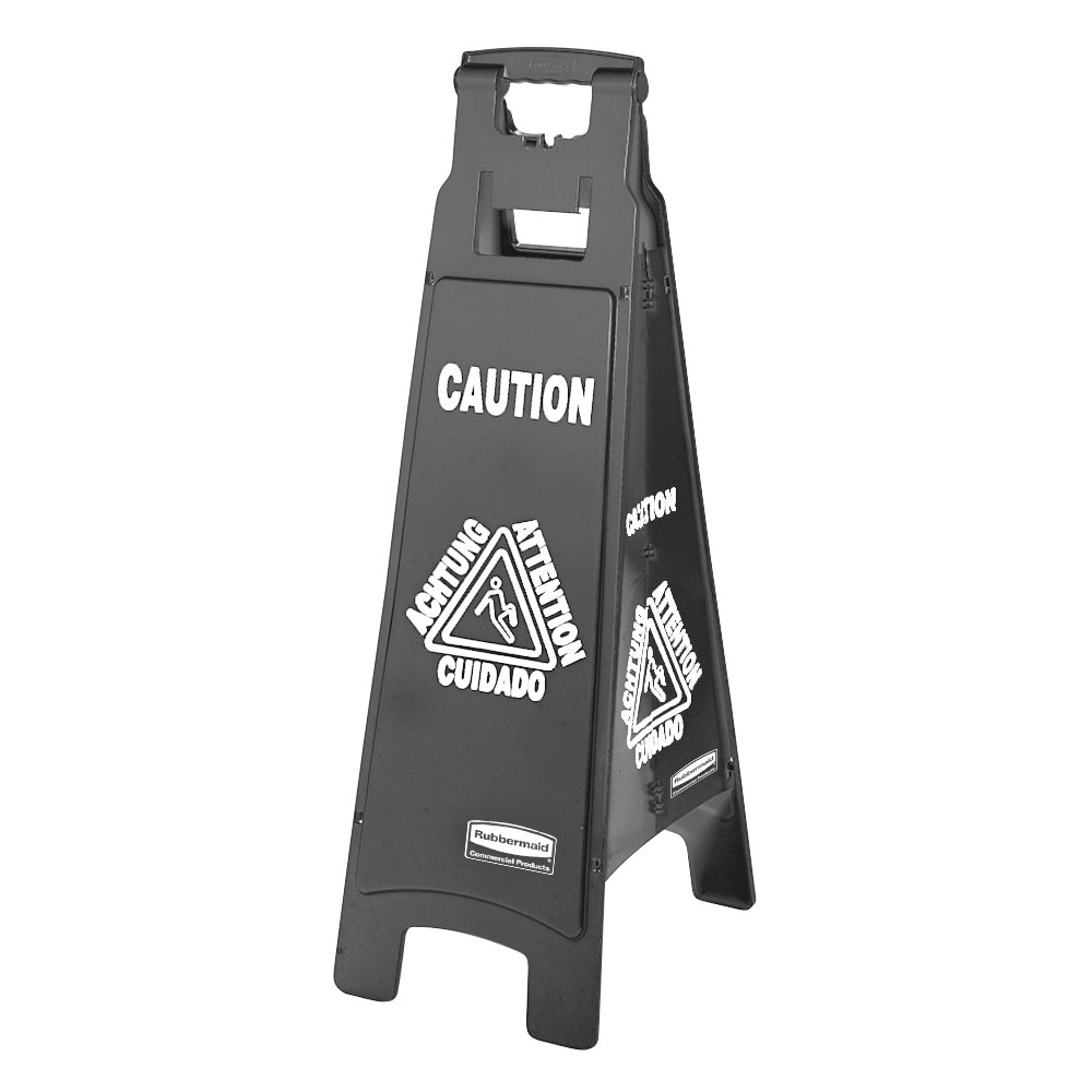 Rubbermaid 1867509 Executive Multi-Lingual Caution Sign - 4 Sided Black