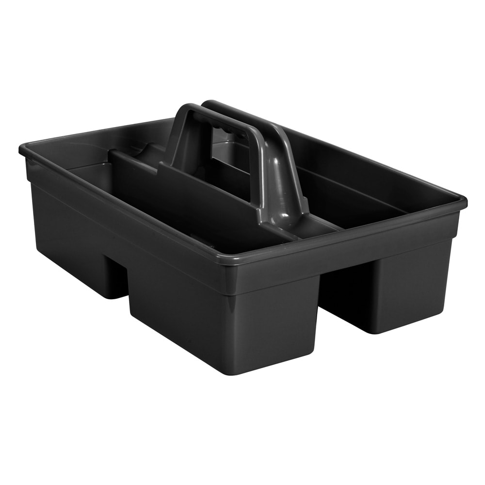 "Rubbermaid 1880994 Bus Box w/ (2) Compartments - 15.25"" x 10.75"" x 6.5"", Black"