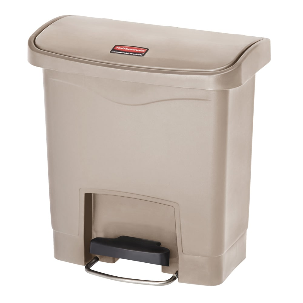 "Rubbermaid 1883455 4-gal Rectangle Plastic Step Trash Can, 14.81""L x 9.06""W x 15.69""H, Beige"