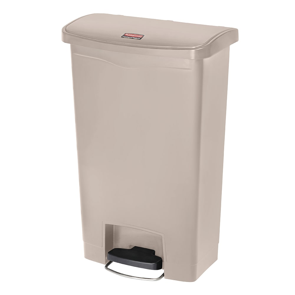 "Rubbermaid 1883458 13 gal Rectangle Plastic Step Trash Can, 17.97""L x 11.48""W x 28.3""H, Beige"