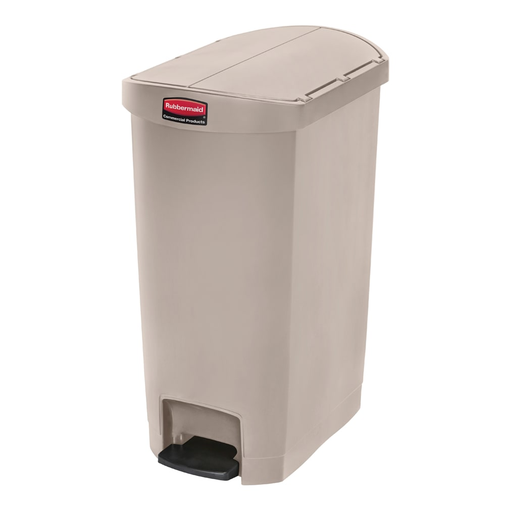 "Rubbermaid 1883459 13-gal Rectangle Plastic Step Trash Can, 20.75""L x 13.5""W x 28.38""H, Beige"