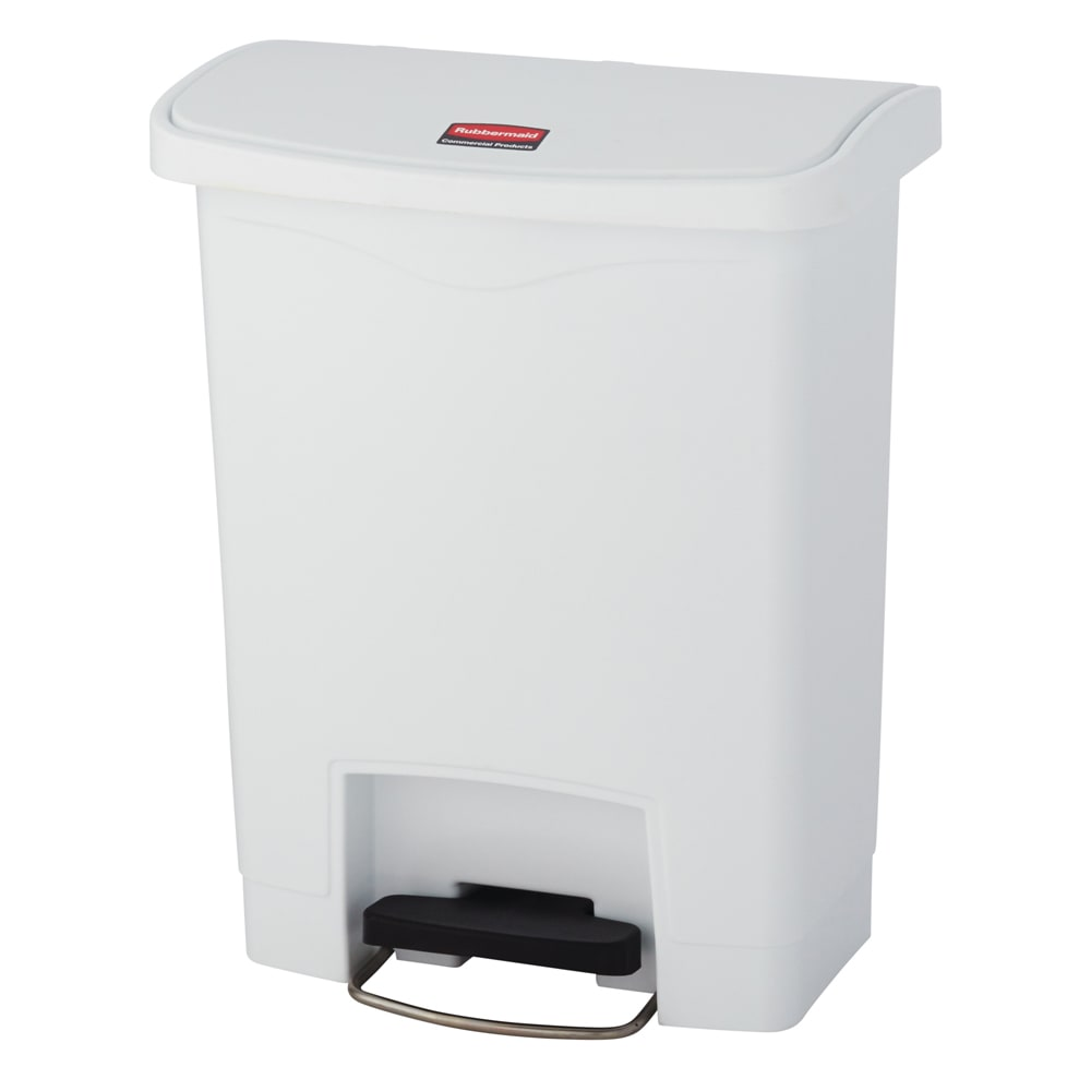 "Rubbermaid 1883555 8 gal Rectangle Plastic Step Trash Can, 16.73""L x 10.66""W x 21.11""H, White"