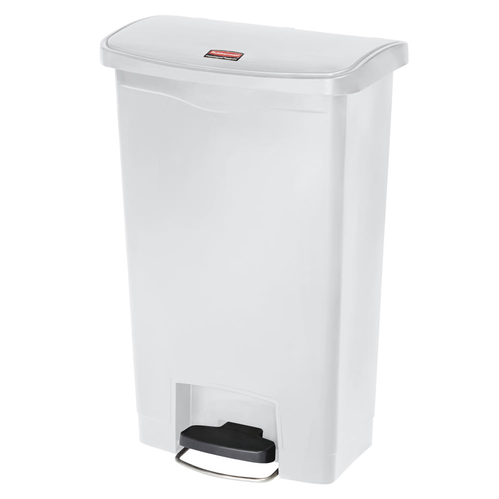 "Rubbermaid 1883559 18 gal Rectangle Plastic Step Trash Can, 19.67""L x 12.23""W x 31.61""H, White"