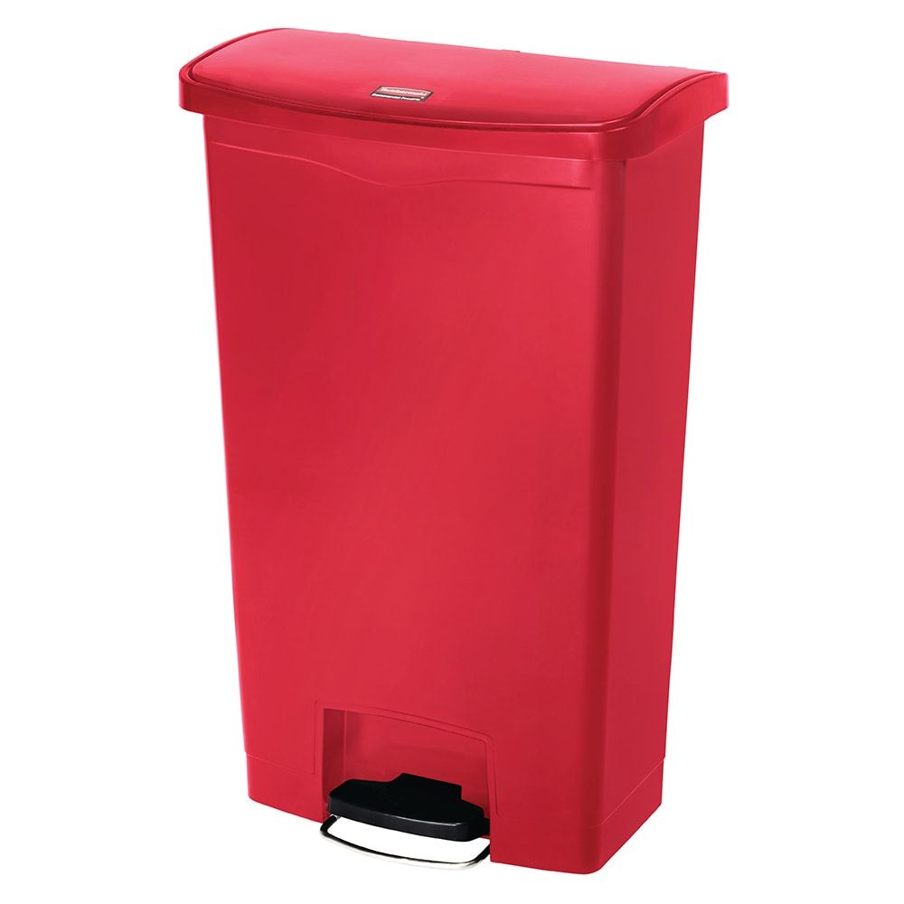 """Rubbermaid 1883564 8 gal Rectangle Plastic Step Trash Can, 16.73""""L x 10.66""""W x 21.11""""H, Red"""