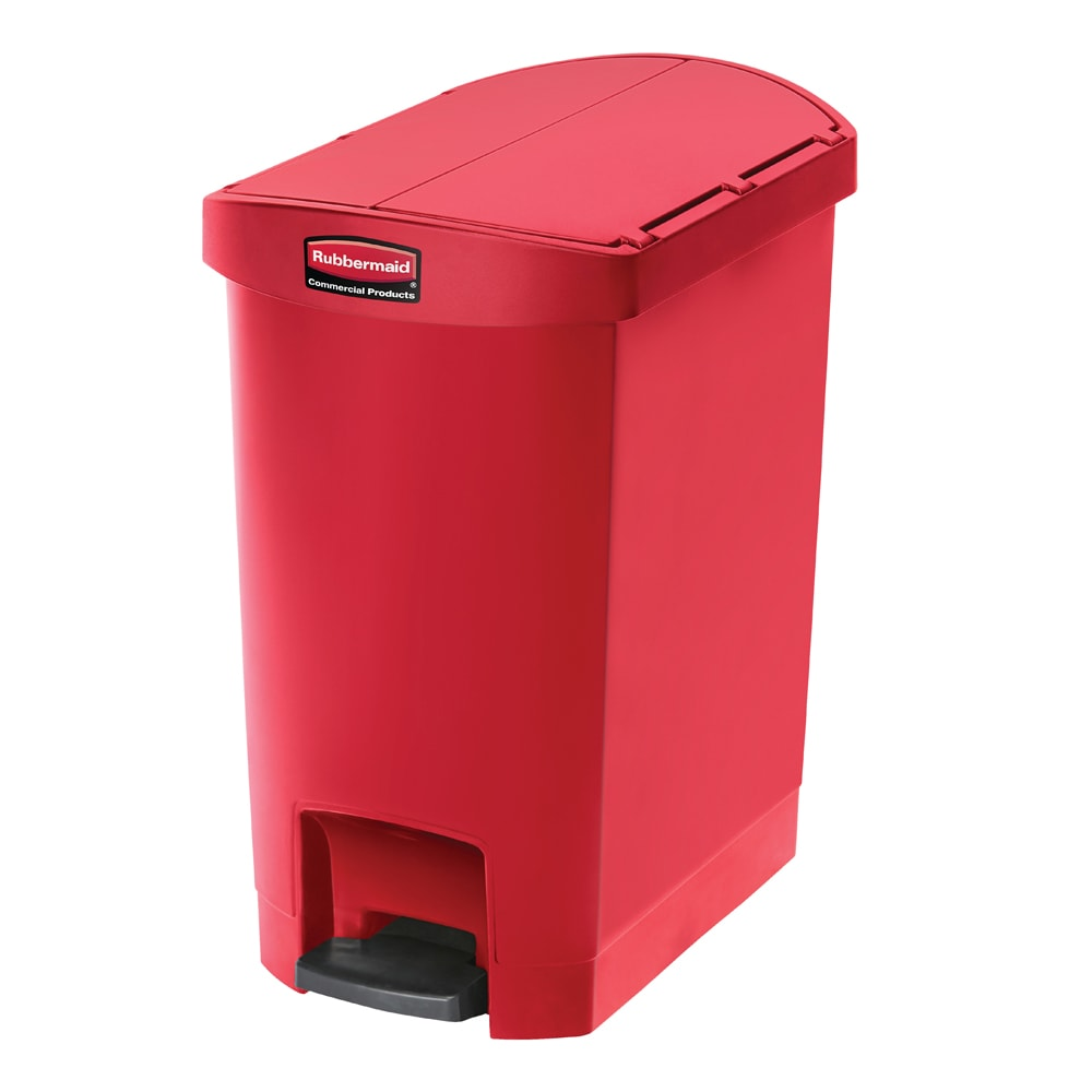 """Rubbermaid 1883565 8-gal Rectangle Plastic Step Trash Can, 19.55""""L x 12.27""""W x 22.27""""H, Red"""