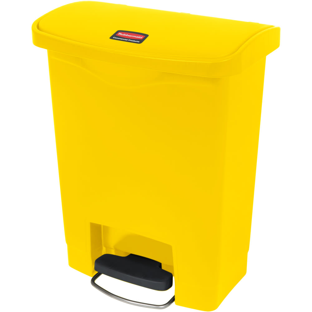 "Rubbermaid 1883573 8-gal Rectangle Plastic Step Trash Can, 16.73""L x 10.66""W x 21.11""H, Yellow"