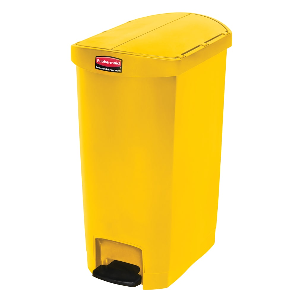 """Rubbermaid 1883576 13-gal Rectangle Plastic Step Trash Can, 20.75""""L x 13.5""""W x 28.38""""H, Yellow"""