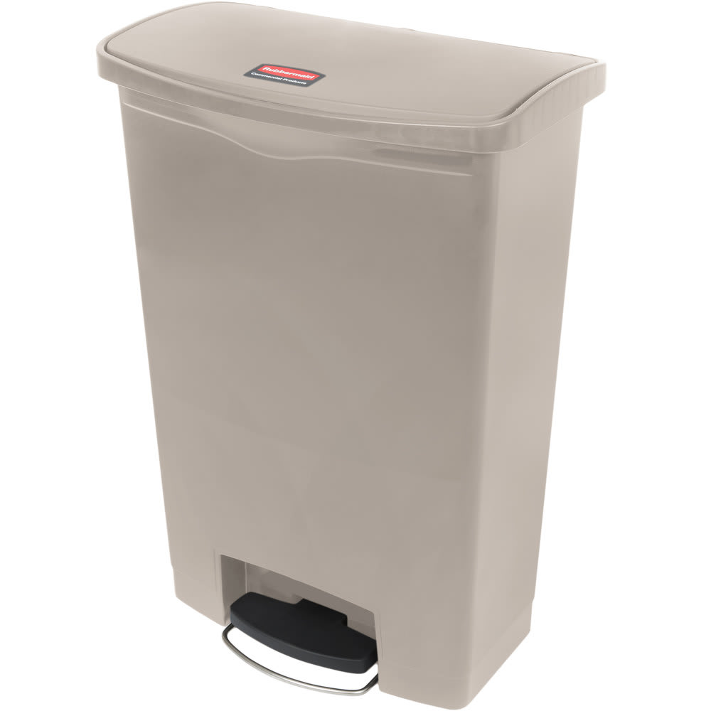 "Rubbermaid 1883582 8-gal Rectangle Plastic Step Trash Can, 16.73""L x 10.66""W x 21.11""H, Green"