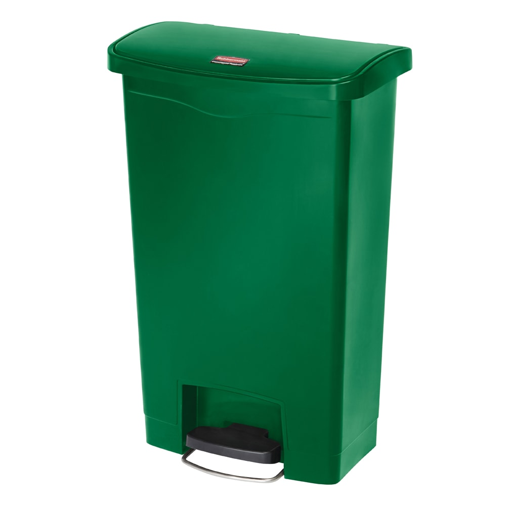 "Rubbermaid 1883584 13-gal Rectangle Plastic Step Trash Can, 17.97""L x 11.48""W x 28.3""H, Green"