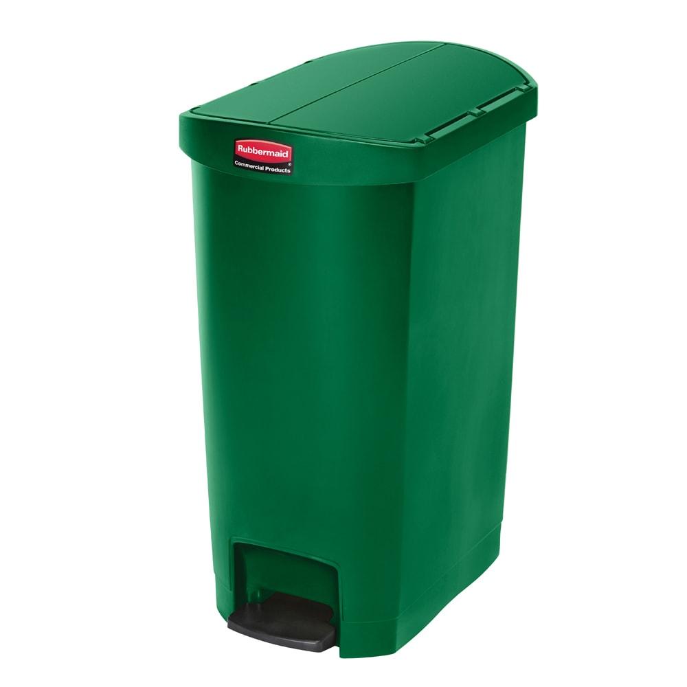 "Rubbermaid 1883585 13-gal Rectangle Plastic Step Trash Can, 20.75""L x 13.5""W x 28.38""H, Green"