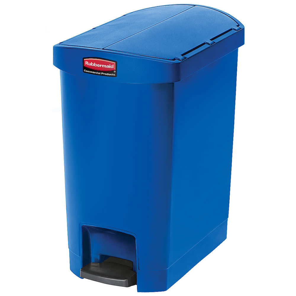 "Rubbermaid 1883592 8-gal Rectangle Plastic Step Trash Can, 19.55""L x 12.27""W x 22.27""H, Blue"