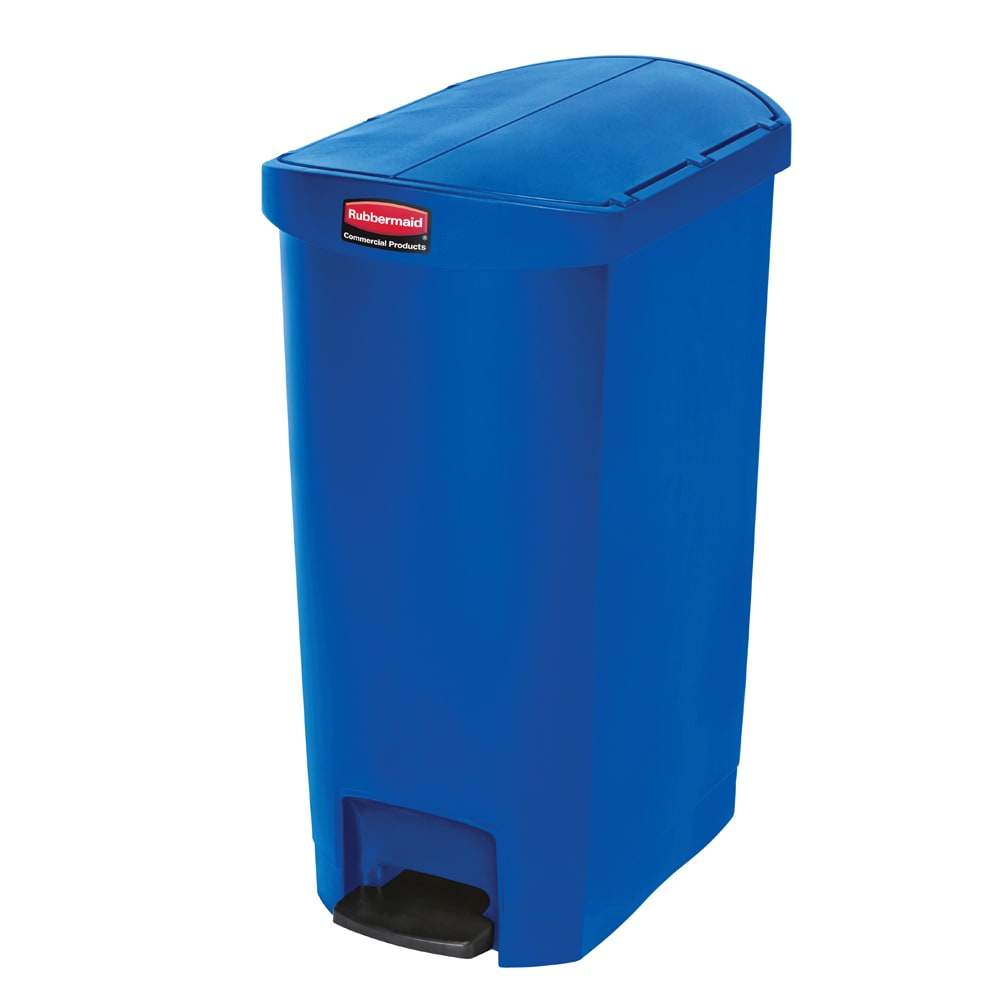 "Rubbermaid 1883594 13-gal Rectangle Plastic Step Trash Can, 20.75""L x 13.5""W x 28.38""H, Blue"