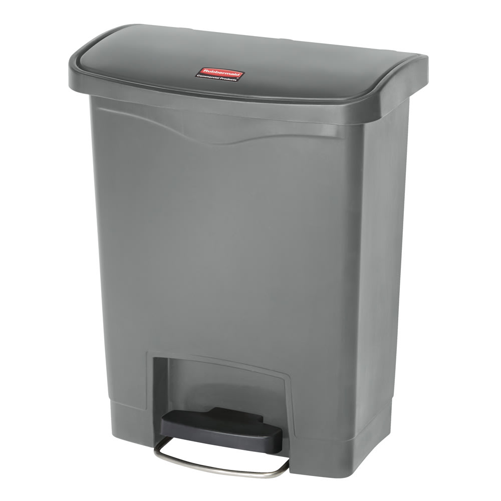 "Rubbermaid 1883600 8 gal Rectangle Plastic Step Trash Can, 16.73""L x 10.66""W x 21.11""H, Gray"